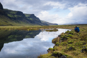 clouds, water, reflections, Iceland, mountains, moss, blue, green, photographer, Bonnie Allen Photo, photography